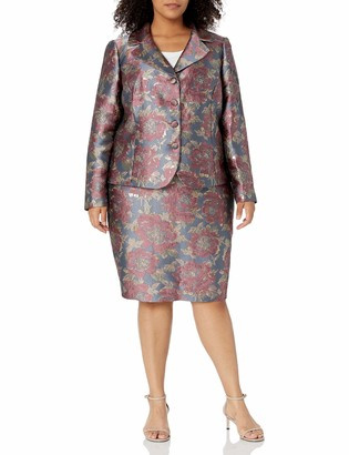 Tahari ASL Women's Plus Size 4 Button Jacket and Skirt Set