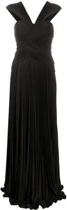 Elisabetta Franchi Pleated Glitter Gown