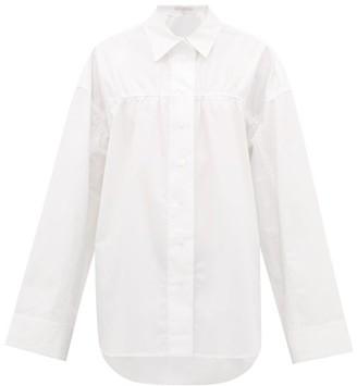 story. White Masquerade Wide-sleeved Cotton-poplin Shirt - Womens - White