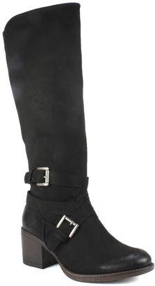 White Mountain Stacked Block Heel Tall Boots -Patricia