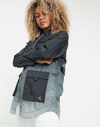 Jordan Nike utility windbreaker jacket in black/gray