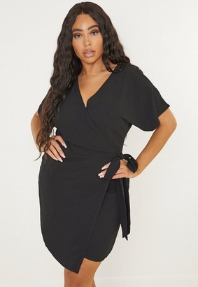 Missguided Plus Size Black Kimono Wrap Mini Dress