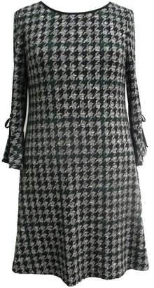 Sandra Darren Houndstooth Fit & Flare Knit Dress