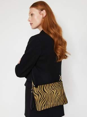 Warehouse Leather Tiger Top Zip Bag - Animal Print