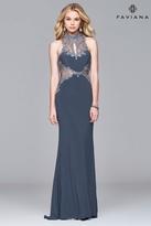 Faviana s7960 Long jersey halter dress with metallic trim