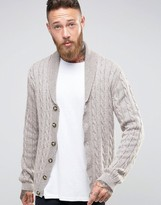 Asos Shawl Neck Cable Cardigan in Wool Mix