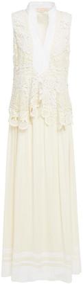 Tory Burch Guipure Lace, Silk-crepe And Poplin Maxi Dress