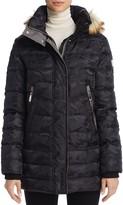 Vince Camuto Faux Fur Trim Camo Print Puffer Coat