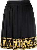 Versace printed trim pleated skirt