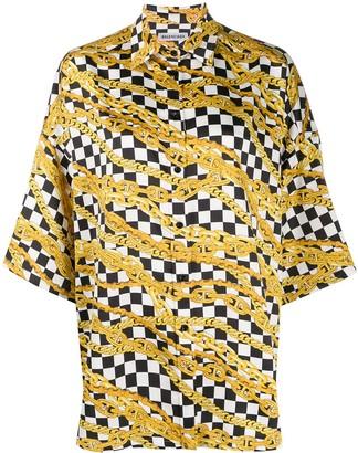 Balenciaga Chain Print Checked Shirt