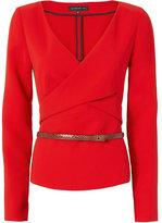 Barbara Bui Belted Crepe Top: Red