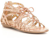 Kenneth Cole Reaction Girl's Bright Leather Caged Lace-Up Ghillie Sandals