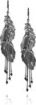 Alex Monroe Ruthenium-plated sterling silver feather earrings