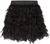 Alice + Olivia Cina Feather-embellished Tulle Mini Skirt - Black