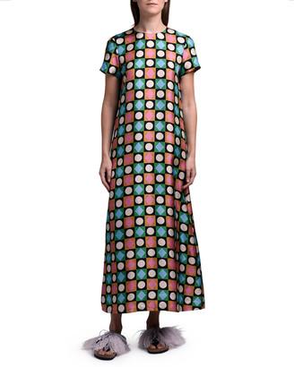 La DoubleJ Geometric Long Silk Swing Dress