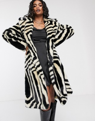 Ivyrevel faux fur coat in zebra print-Multi