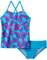 Nike Girls 7-14 Cross-Back Graphic Tankini Swimsuit Set