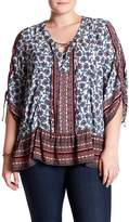 Democracy Printed Lace-Up Blouse (Plus Size)