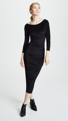 James Perse Fitted Low Back Velvet Dress