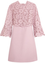 Valentino Bell-sleeve Corded Lace And Crepe Mini Dress - Antique rose