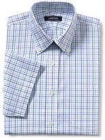 Lands' End Men's Big & Tall No Iron Traditional Fit Supima Pinpoint Dress Shirt-Clear Blue/White Stripe