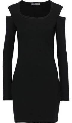 Helmut Lang Cold-shoulder Wool-blend Mini Dress