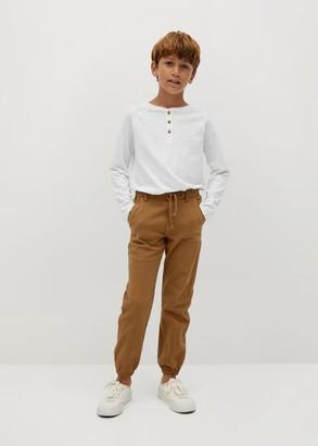 MANGO Cuffed hem cotton-blend trousers
