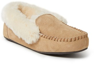 Dearfoams Women's Genuine Suede Moccasin