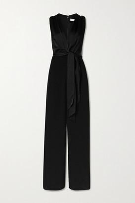 Jonathan Simkhai Tie-front Draped Cady And Satin Jumpsuit - Black