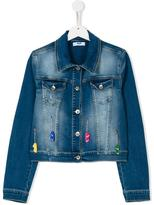 MSGM skate applique denim jacket - kids - Cotton/Spandex/Elastane - 14 yrs