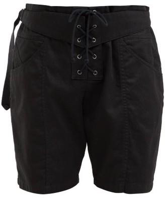 Saint Laurent Lace-up Cotton-blend Shorts - Womens - Black