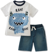 Kids Headquarters Light Gray Monster Tee & Denim Shorts - Toddler & Boys