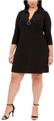 MSK Plus Size O-Ring Zipper Dress