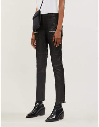 The Kooples Leather-look stretch-denim jeans