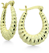Giani Bernini Shrimp Stamp Oval Hoop Earrings in 18k Gold-Plated Sterling Silver, Only at Macy's
