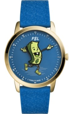 Fossil Men's Minimalist Blue Silicone Strap Watch 44mm