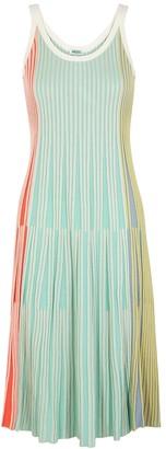 Kenzo Colour-blocked ribbed-knit midi dress
