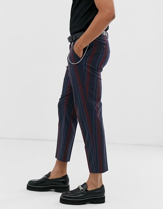 ASOS DESIGN tapered smart trousers in navy and burgundy stripe with chain