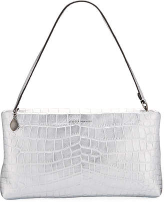 Rebecca Minkoff Metallic Mock-Croc Leather Zip Clutch Bag