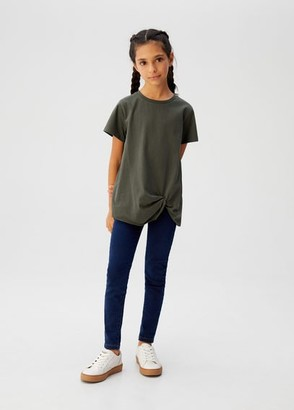 MANGO Ruched organic cotton t-shirt khaki - 5 - Kids