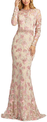 Mac Duggal Floral Applique Long-Sleeve Illusion Sheath Gown