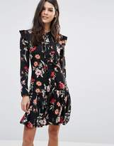 Liquorish Floral A Line Dress With Frill Details