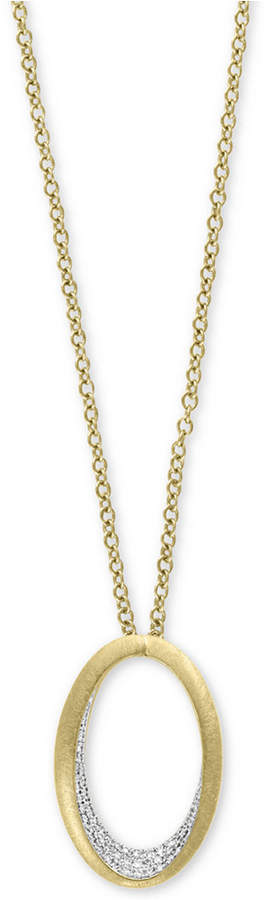 """Effy D'Oro by Diamond Pavé Oval 18"""" Pendant Necklace (1/5 ct. t.w.) in 14k Gold"""