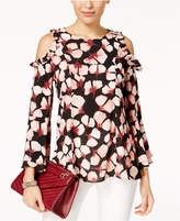 Alfani Printed Cold-Shoulder Blouse, Created for Macy's