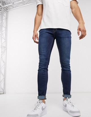 Jack and Jones Intelligence skinny fit jeans in mid blue wash