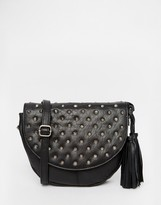 Leather Studded Saddle Bag