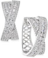 Arabella Swarovski Zirconia Crisscross Hoop Earrings in Sterling Silver, Only at Macy's