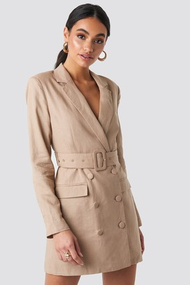 BEIGE Hoss X NA-KD Linen Blazer Dress