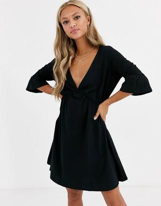 Asos Design DESIGN v neck frill sleeve smock dress-Black