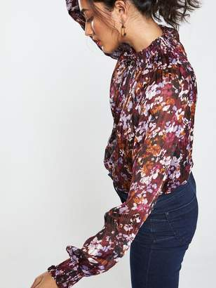 Very Shirred High Neck Burnout Blouse - Lilac Floral